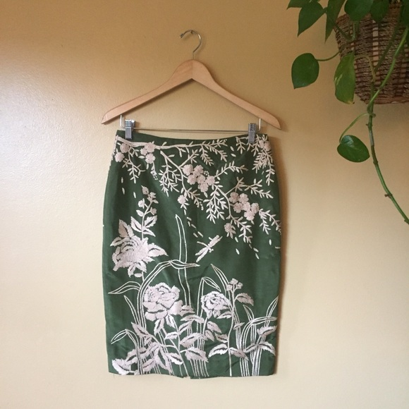 Tracy Reese Dresses & Skirts - Tracy Reese Silk Pencil Skirt Embroidered Sz 6